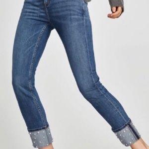 Zara Basics Pearl Embellished Crop Ankle Jeans